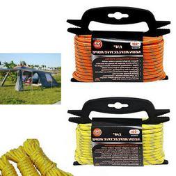 """1/4"""" Neon Reflective Guyline Camping Tent Tarp Rope 50' Line"""