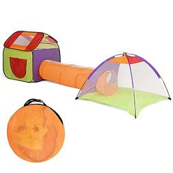COSTWAY 3 In 1 Folding Pop Up Kids Play Tent Playhouse