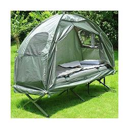 Outdoor 1-Person Folding Tent Elevated Camping Cot with Air