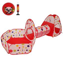 LyButty 3 in 1 Multicolor Pop Up Kids Play Tent with Tunnel