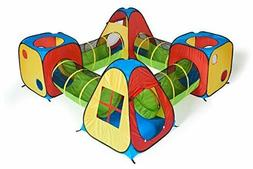 UTEX 8 in 1 Pop Up Children Play Tent House with 4 Tunnel, 4