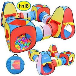 8 in 1 Pop-up Play Tent Tunnel Including 4 Kids Play Tunnels