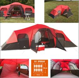 10-Person Family Camping Tent Large Outdoor Waterproof 2-Roo