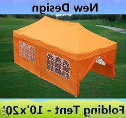10' x 20' Pop Up Canopy Party Tent Gazebo EZ - Orange - E Mo