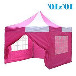 10'x10' Pop up 4 Wall Canopy Party Tent Gazebo EZ Pink White