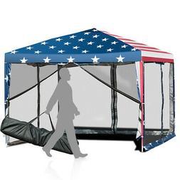 10'x10' Fodling Pop Up Tent Gazebo Canopy Mesh Sidewall W/Ca
