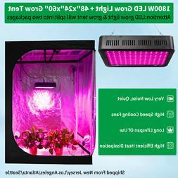 1800W Led Grow Light Kit Full Spectrum + 4'x2' Hydroponic Gr
