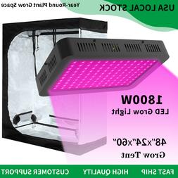1800W Led Grow Light Full Spectrum + 4' x 2' Hydroponic Grow