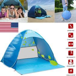 US 2-3 Person Portable Pop Up Beach Tent Anti-UV Sun Shade C