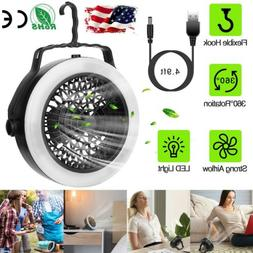 2-in-1 Outdoor Camping Portable Battery LED Fan Light Hangin