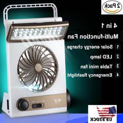 2 Pack Solar Power/AC Rechageable Camping Cool Fan Light Ten