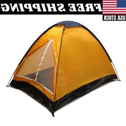 2 Person Dome Camping Tent with Sealed Bottom Orange 7x5' Tw