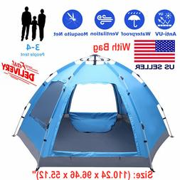 3-4 Person Automatic Waterproof Tent Instant Pop Up Outdoor