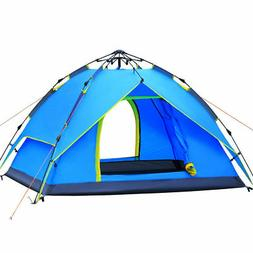3-4 Person Blue Double layer Waterproof Family Camping Hikin