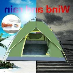 3-4 Person Green Double layer Waterproof Family Camping Hiki
