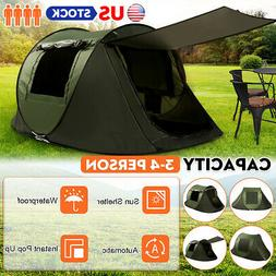 3-4 Person Instant Up Camping Tent UV Protection Waterproof