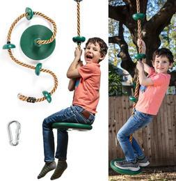 Tree Swing Gym Climbing Rope w/Platforms&Disc Swing Seat Pla