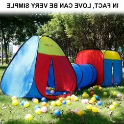 3 in 1 Portable Kids Indoor Outdoor Play Tent Crawl Tunnel S
