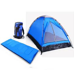 3 Piece - 1 Person Camping Gear Set Blue Or Red With Sleepin