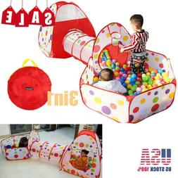 3in1 Portable Kids Play Tent Crawl Tunnel Ball Pit Play Hous