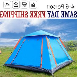 4-6 Person Camping Hiking Instant Pop Up Tent Waterproof Fam