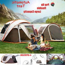 4-8 Person Instant Auto Pop-Up Camping Tent Khaki Waterproof