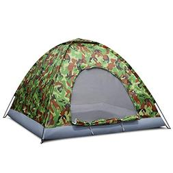 Flexzion 4 Person Camping Tent, Camouflage - Large Waterproo