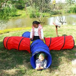 4-way Play Tunnel Folding Portable Playpen Tent Play Yard fo
