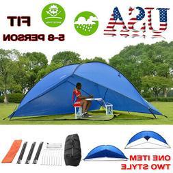 5-8 PERSON Tent Tarp Awning Beach Sun Shade Rain Shelter Out