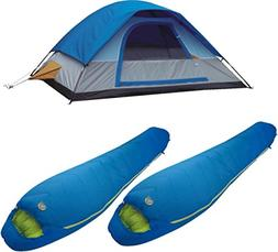 A Alpinizmo 5 Men Dome Tent with Two 20 F Mummy Sleeping Bag