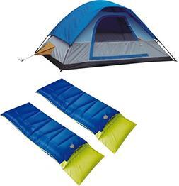 A Alpinizmo 5 Men Dome Tent + Two 20F Sleeping Bags Free Stu