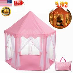 Girls Pink Princess Castle Cute Kids Playhouse Large Tent In
