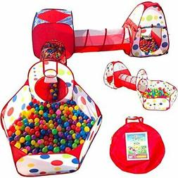 Playz 5-Piece Kids Play Tents Crawl Tunnels and Ball Pit Pop
