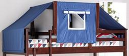 Donco Kids 755-CP-Blue Wooden Tent Structure Bed with Tent F