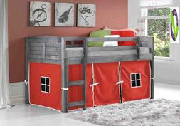 Donco Kids 790Aag_750C-Tr Louver Low Loft Bed With Camo Tent