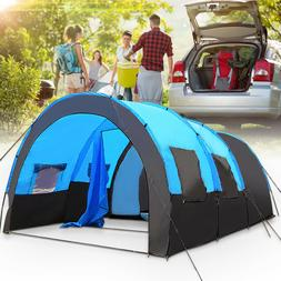 8-10 People Camping Tent Windproof Tunnel Double Layer Large