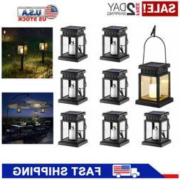 8Pcs Solar Hanging Lights Lantern Candle Effect Tent Yard Ga