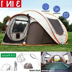 8 Person Camping Tent Waterproof UV Resistance Auto Setup Su