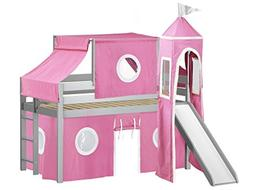 JACKPOT! Princess Low Loft Bed with Slide Pink and White Ten
