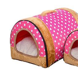 Krastal Dog House Nest with Mat Foldable Home Pet Dog Bed Ca