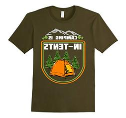 Mens Camping T-Shirt Camping is in Tents Shirt XL Olive