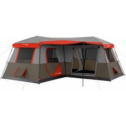 12 Person Instant Cabin 16x16 3-room Tent in Brown/Red