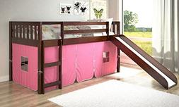 Donco Kids Twin Mission Pink Tent Loft Bed with Slide
