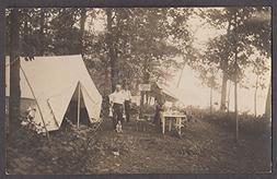 Yellow Hornet Club encampment RPPC ca 1910 tent table 3 men