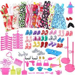 AMOFINY 1Set Barbie Dress Up Clothes Lot Cheap Doll Accessor