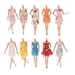 AMOFINY AMOFINY 6/12PC Barbie Dress Up Clothes Lot Doll Acce