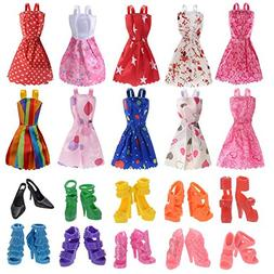 AMOFINY 10 Pack Barbie Doll Clothes+10 Pairs Doll Shoes Part