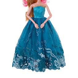 AMOFINY Fashion 1PC Pure Wedding Dress For Barbie Doll Eveni