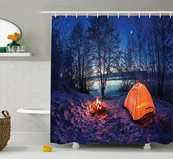Ambesonne Apartment Decor Shower Curtain, Dark Night Camping