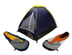 BLUE DOME CAMPING TENT 2 MAN + 2 SLEEPING BAGS 20+ COMBO CAM